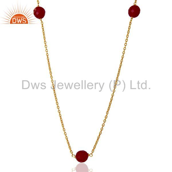 Pink Chalcedony Gemstone Gold Plated Silver Chain Necklace Supplier