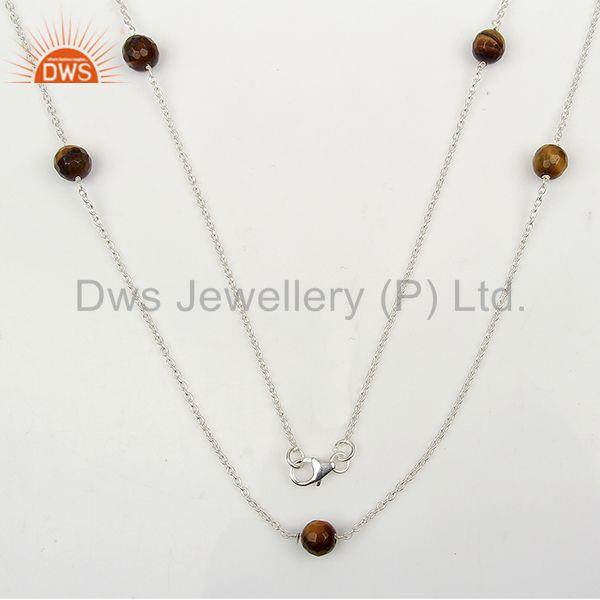 White 925 Silver Tiger Eye Gemstone Chain Necklace Jewelry Wholesale