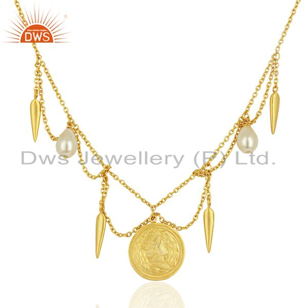 Handmade Pearl Gemstone Gold Plated Silver Womens Necklace Jewelry