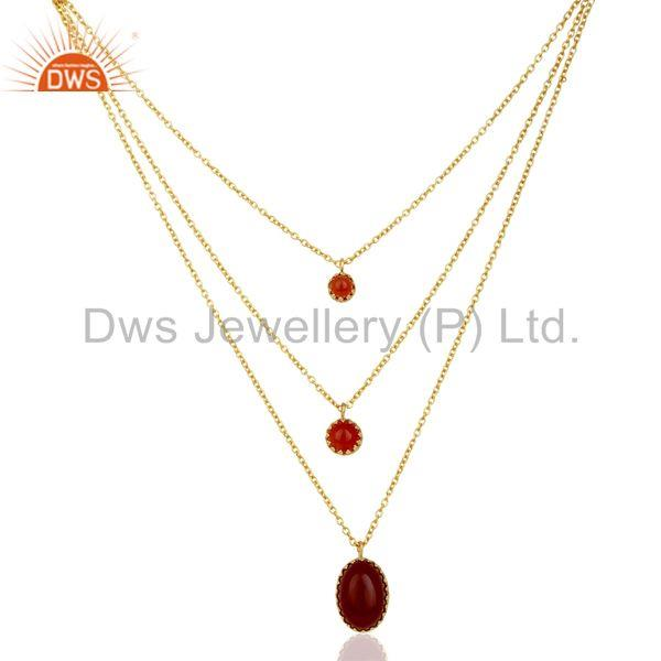 Carnelian Gemstone Gold Plated Designer Chain Necklace Supplier