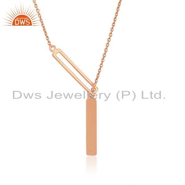 Handmade Rose Gold Plated 925 Silver Chain Pendant Indian Jewelry Manufacturer