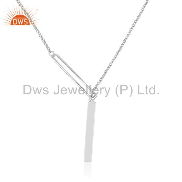 Handmade 925 Sterling Plain Silver Chain and Link Pendant Necklace Wholesale