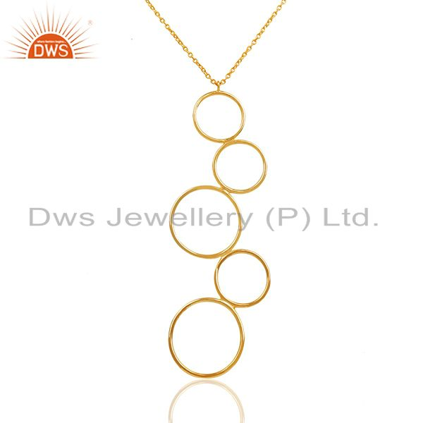 Circle design 92.5 silver gold plated pendant jewelry manufacturer