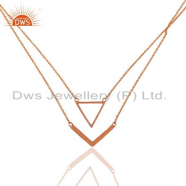 Handmade Rose Gold Plated 925 Silver Designer Multi Chain Pendant