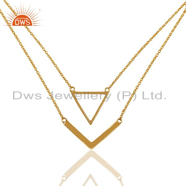 Handmade Gold Plated 925 Silver Chain Necklace Pendant Wholesale