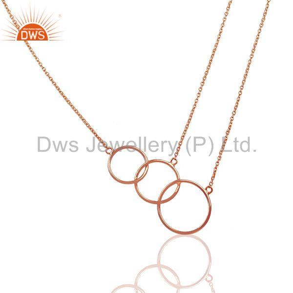 18k Rose Gold Plated Sterling Silver Three Circle Charm Chain Pendant