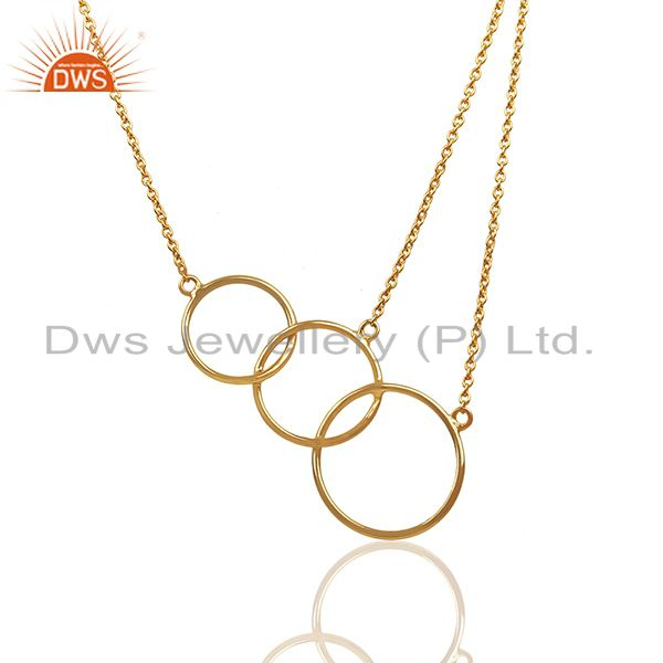 Solid 92.5 Sterling Silver Gold Plated Girls Necklace Pendant Supplier