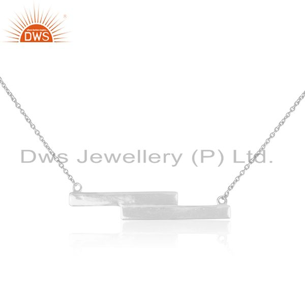 White Sterling Plain Silver Bar Design Pendant With Chain Manufacturer