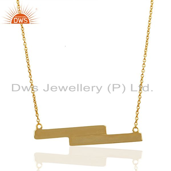 Handmade Gold Plated 925 Silver Bar Pendant Necklace Manufacturers
