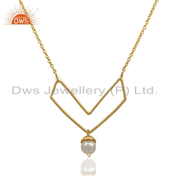 Gold Plated Sterling 92.5 Silver Fresh Watar Pearl Pendant Wholesale