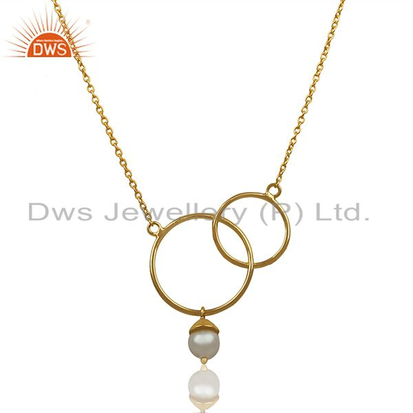 Handmade 925 Silver Gold Plated Pearl Girls Pendant Manufacturer