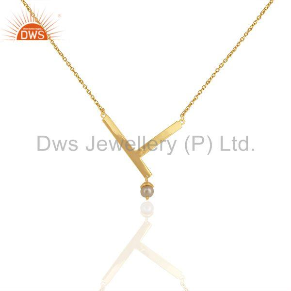 Handmade 14k Gold Plated Sterling 925 Silver Natural Pearl Pendant Wholesale