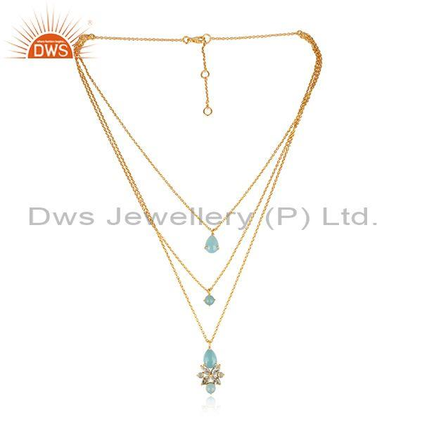 Aqua Chalcedony, Blue Topaz Set Gold On 925 Silver Necklace