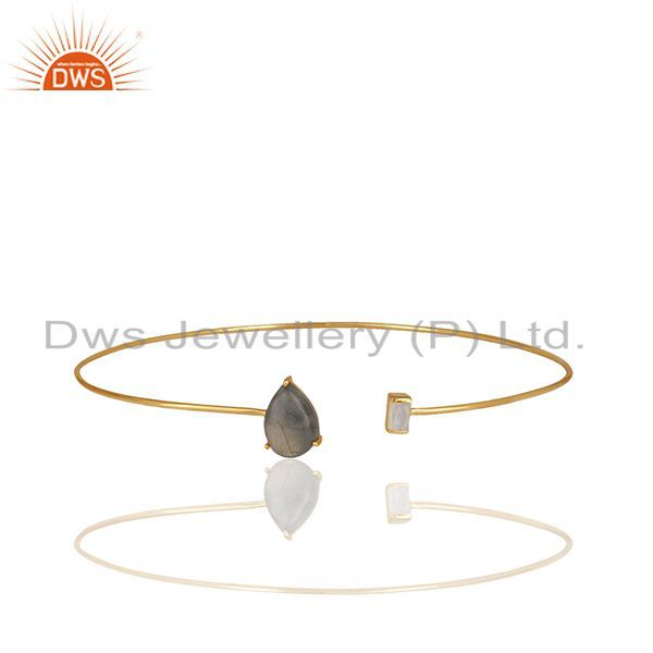 Handmade 92.5 Silver Gold Plated Multi Gemstone Cuff Bracelet Supplier