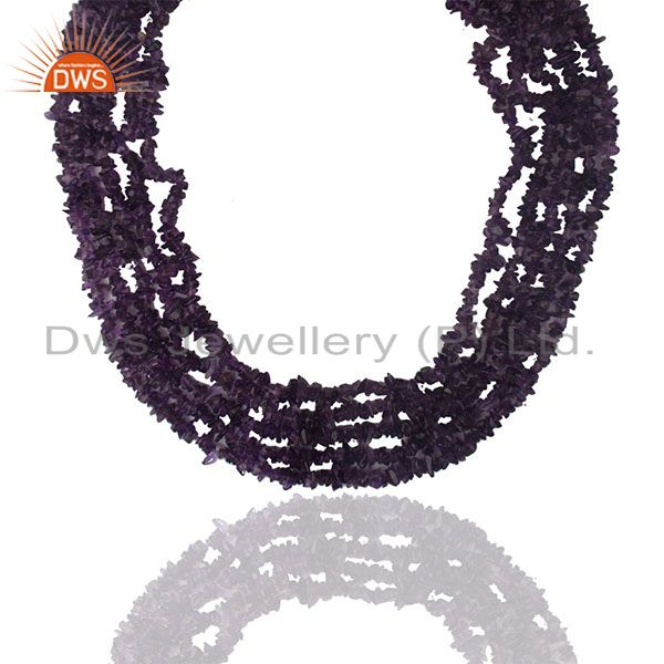 Natural Amethyst Beaded Gemstone 925 Silver Necklace Wholesale