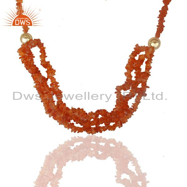 Carnelian Beaded Gemstone 925 Silver Gold Plated Necklace Suppliers