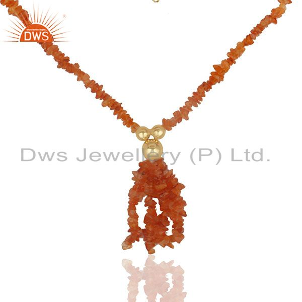 Natural Carnelian Beaded Gemstone 925 Silver Gold Plated Necklace