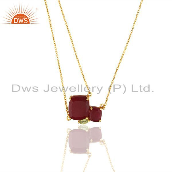 92.5 Sterling Silver Gold Plated Multi Gemstone Pendant Necklace