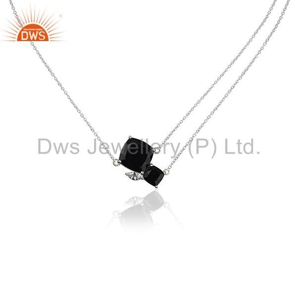 Fine 925 Sterling Silver Black Onyx Gemstone and Cz Pendant Necklace Suppliers