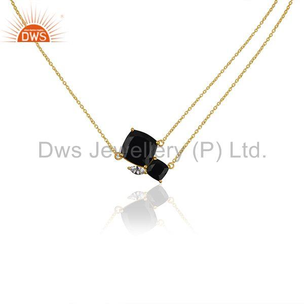 Black Onyx Gemstone 925 Silver 18k Gold Plated Chain Necklace Wholesale