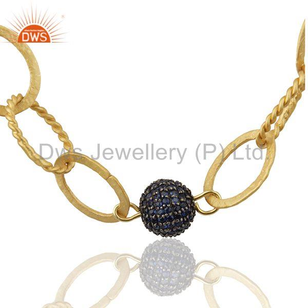 Handmade 925 Silver Gold Plated Beaded Blue Sapphire Ball Necklace
