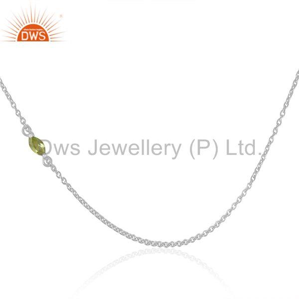 Peridot Gemstone 925 Fine Sterling Silver Chain Necklace Manufacturers