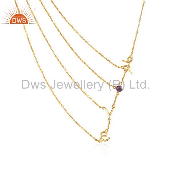 Initial Love Designer Multi Chain 925 Silver Gold Plated Birthstone Necklace