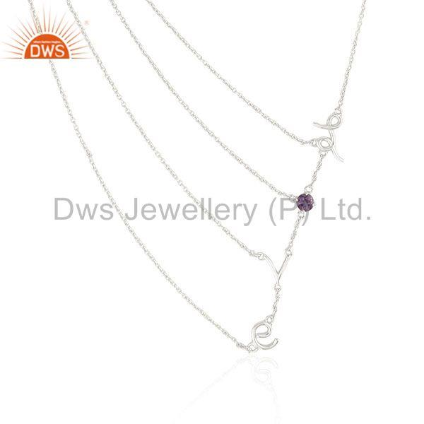 Fine Sterling Silver Love Initial Amethyst Gemstone Chain Necklace Wholesale