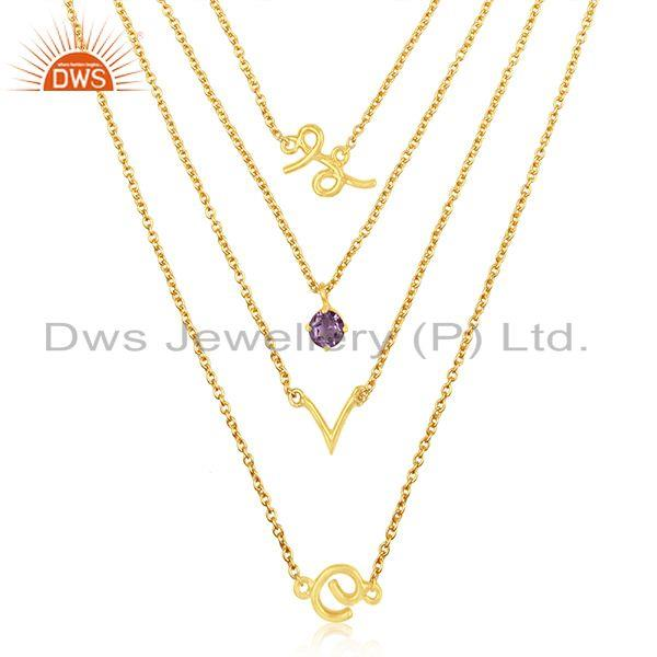 Customized Love Initial 925 Silver Gold Plated Amethyst Gemstone Chain Necklace
