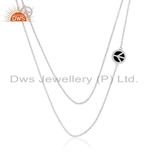 925 Sterling Silver Peace Sign Black Onyx Gemstone Chain Necklace Manufacturer