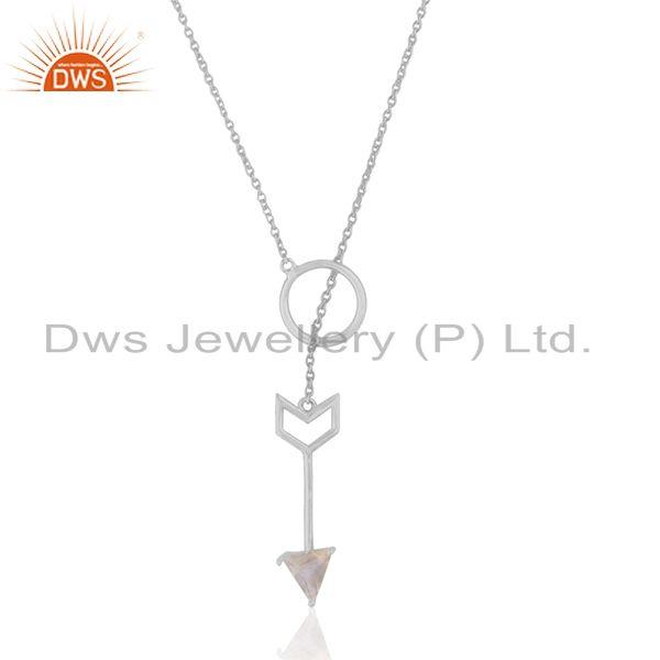 925 Sterling Silver Arrow Design Ranibow Moonstone Chain Pendant Manufacturer