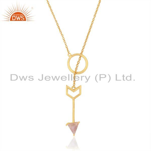 Arrow design gold plated 925 sterling silver moonstone chain pendant