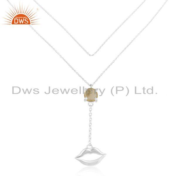 925 silver lip design november birthstone citrine necklace manufacturer