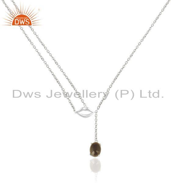 92.5 Sterling Silver November Birthstone Citrine Lip Necklace Manufacturer
