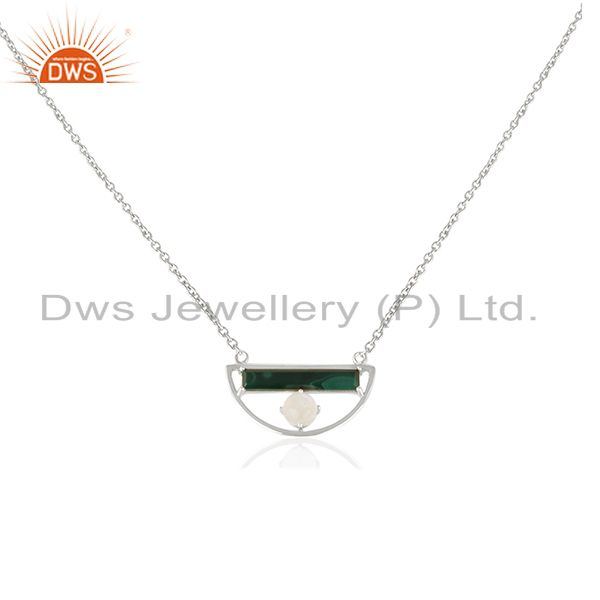 Natural Multi Gemstone Half Moon Charm 925 Fine Silver Chain Pendant Wholesale