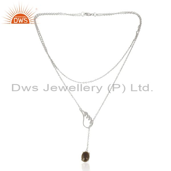 Smoky Quartz 92.5 Sterling Silver Angle Wing Chain Necklace Manufacturer