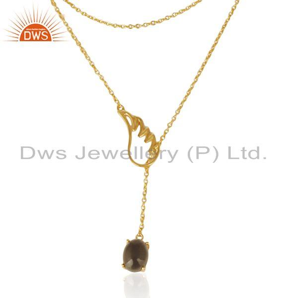 925 Silver Gold Plated Customize Angel Wing Gemstone Necklace Wholesale