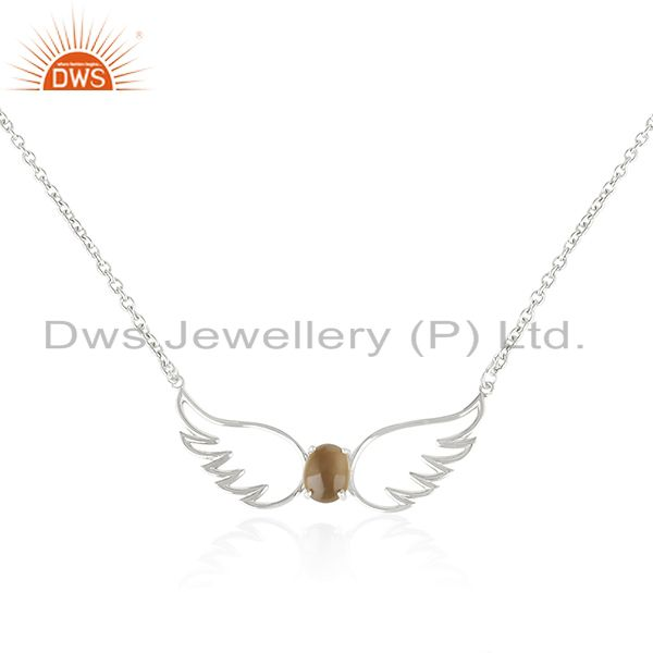 92.5 Sterling Silver Angel Wing Smoky Quartz Gemstone Chain Pendant Wholesale