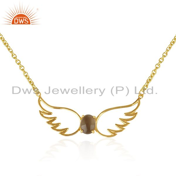 Angel Wing Gold Plated 925 Silver Smoky Quartz Chain Pendant Wholesale