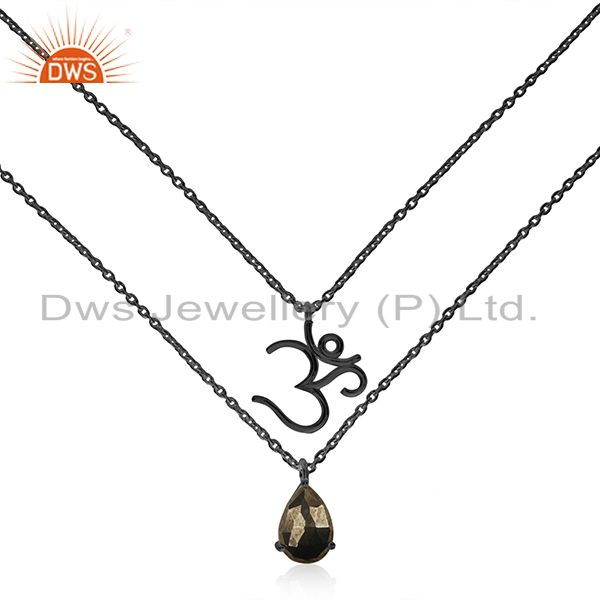 Om aum charm black rhodium plated 925 silver gemstone pendant necklace