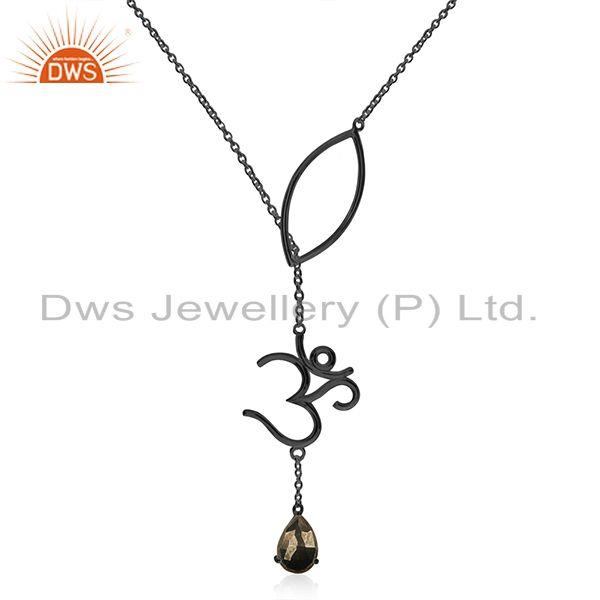 Om Charm Black Rhodium Plated Pyrite Gemstone 925 Silver Chain Pendant Wholesale
