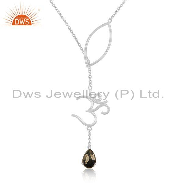 Pyrite Gemstone 925 Silver Om Aum Charm Chain Necklace Pendant Manufacturer