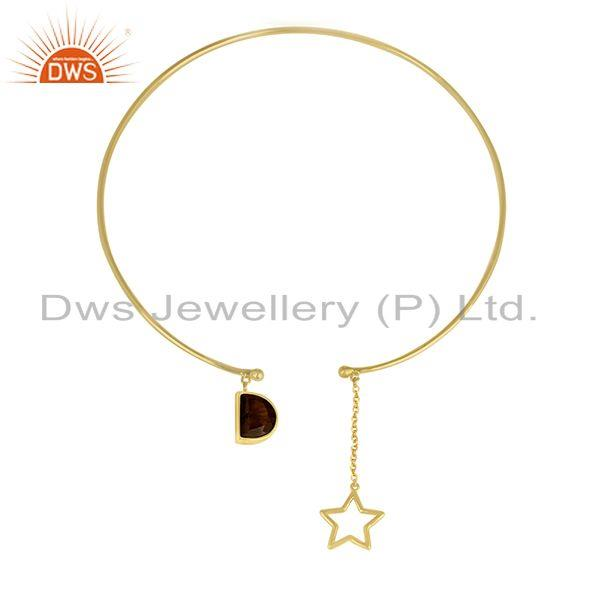 Handmade 925 Silver Gold Plated Star Charm Tiger Eye Gemstone Necklace Wholesale