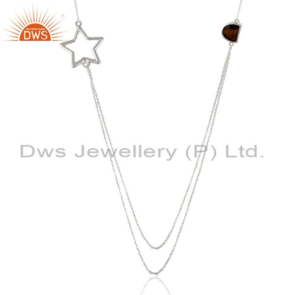 92.5 sterling silver star charm tiger eye gemstone chain necklace manufacturers