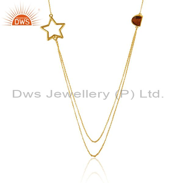 Handmade Gold Plated 925 Silver Tiger Eye Gemstone Star Charm Necklace Suppliers