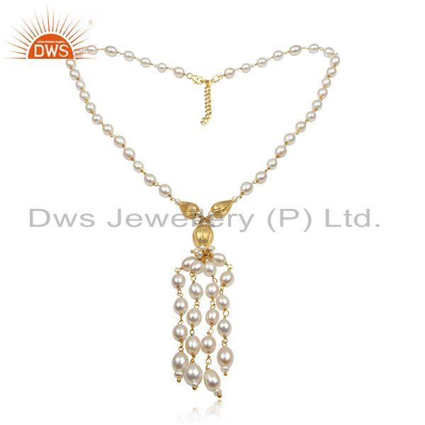 Traditional Handmade Bead Neckalce in Gold on Silver With Pearl