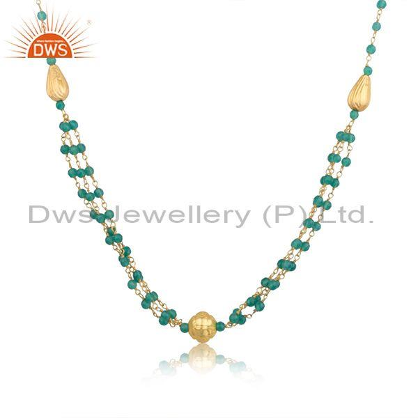 Designer 925 silver green onyx beaded gemstone necklace jewelry wholesale