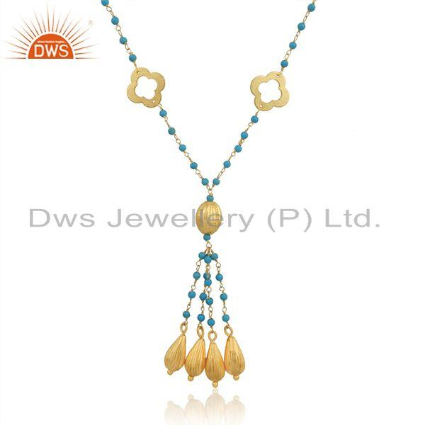 Clover Gold Plated SIlver Turquoise Gemstone Beaded Necklace Jewelry