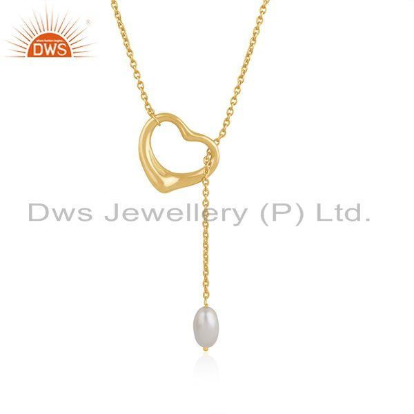 Pearl 18k gold plated silver open heart chain necklace jewelry