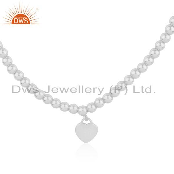 White Rhodium Plated Silver Beaded Heart Chain Necklace Jewelry